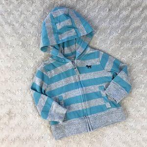 Carter's Hooded Light Jacket Blue Gray Stripes 9M